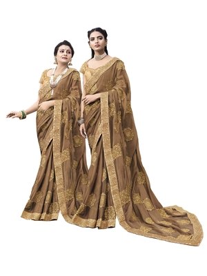 Light brown embroidered chiffon saree with blouse