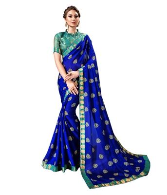 Royal blue printed chiffon saree with blouse