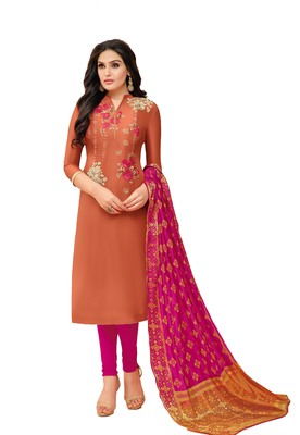 Orange sequins pure silk blend salwar