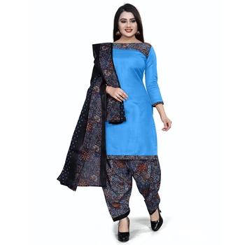 Sky-blue plain cotton salwar