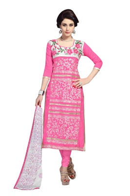 Pink resham embroidery cotton salwar