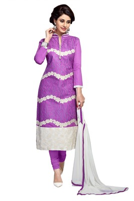 Purple resham embroidery cotton salwar