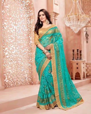 Green embroidered net saree with blouse