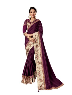 Purple embroidered pure silk saree with blouse