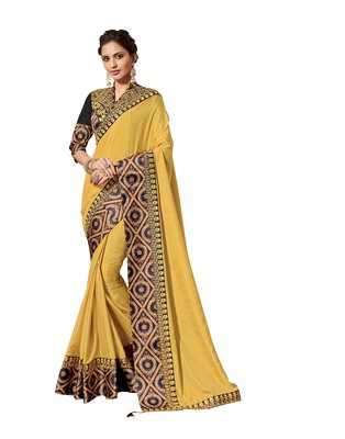 Yellow embroidered pure silk saree with blouse