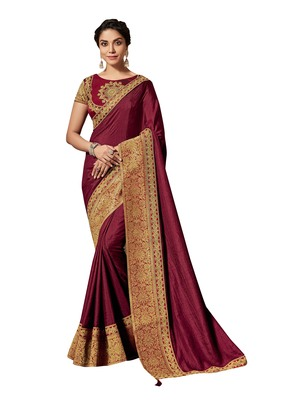 Maroon embroidered pure silk saree with blouse