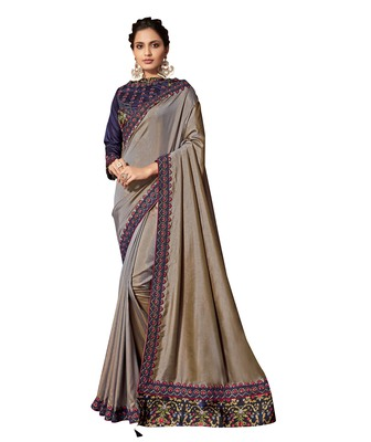 Grey embroidered pure silk saree with blouse