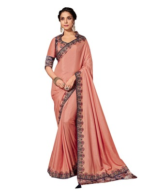 Peach embroidered pure silk saree with blouse