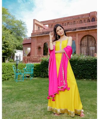 yellow plain rayon kurta sets