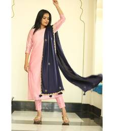 pink plain chanderi kurta sets