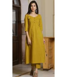 olive plain Cotton kurta sets