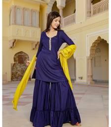 blue plain rayon kurta sets