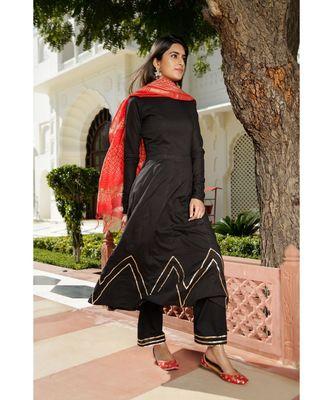 black plain Cotton kurta sets