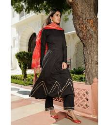 black plain Cotton kurta sets