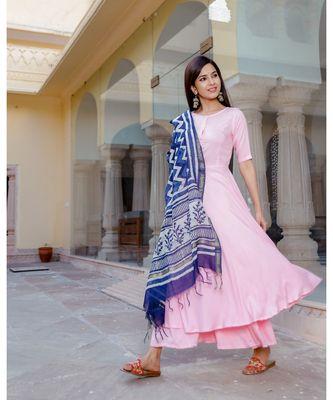 pink plain rayon kurta sets