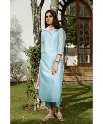 blue plain chanderi kurta sets
