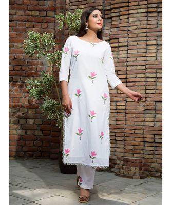 white printed Cotton kurta sets