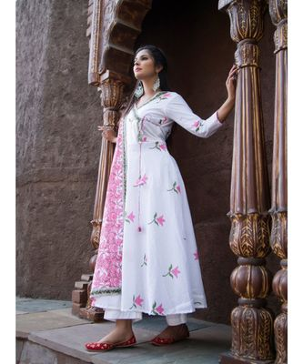 white printed Cotton kurta sets
