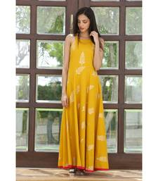 yellow printed Cotton kurta sets
