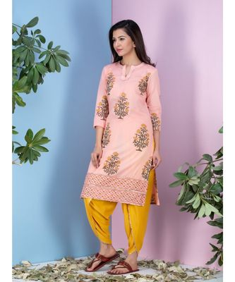 peach printed Cotton kurta sets