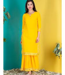 yellow plain Cotton kurta sets