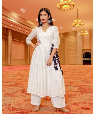 white plain cotton kurta sets