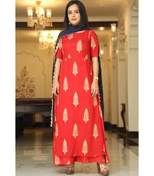 red printed Cotton kurta sets