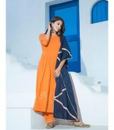 orange plain Cotton kurta sets