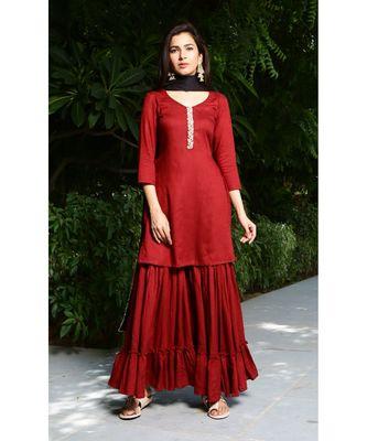 maroon plain rayon kurta sets