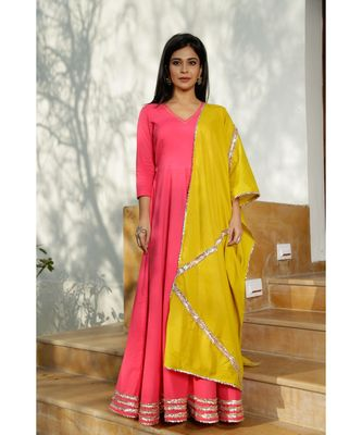 pink plain Cotton kurta sets