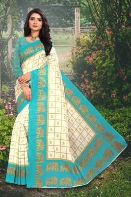 Light aqua blue printed art silk sarees saree with blouse