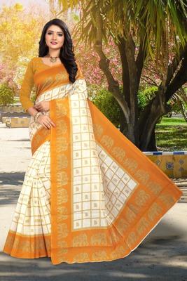 Yellow printed art silk sarees saree with blouse