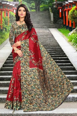Dark maroon printed art silk sarees saree with blouse