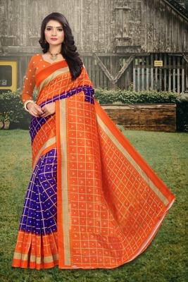 Purple printed art silk sarees saree with blouse