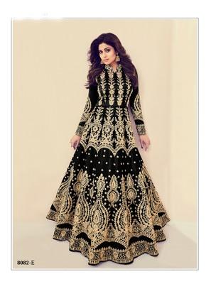 black embroidered banarasi silk semi stitched salwar with dupatta