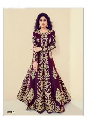 purple embroidered banarasi silk semi stitched salwar with dupatta