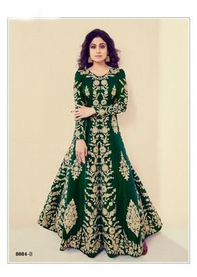 green embroidered banarasi silk semi stitched salwar with dupatta