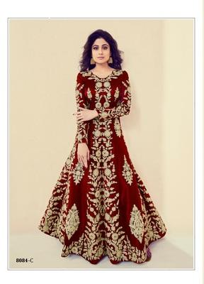 red embroidered banarasi silk semi stitched salwar with dupatta