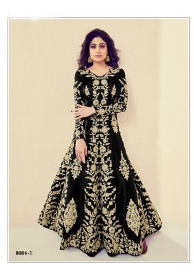 black embroidered banarasi silk semi stitched salwar with dupatta