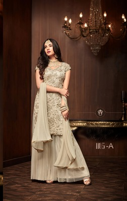 white plain net semi stitched salwar with dupatta