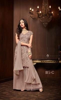 purple plain net semi stitched salwar with dupatta