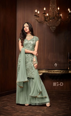green plain net semi stitched salwar with dupatta