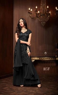 black plain net semi stitched salwar with dupatta