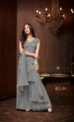 grey plain net semi stitched salwar with dupatta