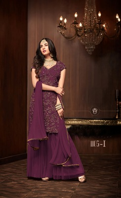 purple plain net semi stitched salwar with dupatta