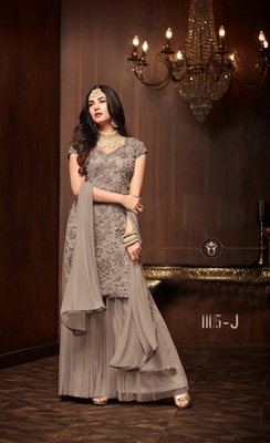 brown plain net semi stitched salwar with dupatta