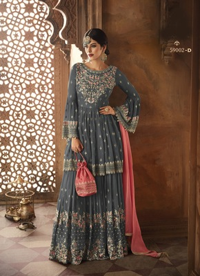 grey embroidered faux georgette semi stitched salwar with dupatta