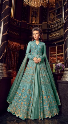 turquoise embroidered net semi stitched salwar with dupatta