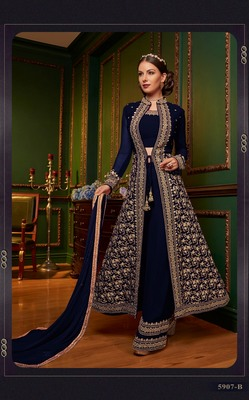 blue  embroidered faux georgette semi stitched salwar with dupatta
