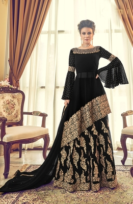 black embroidered faux georgette semi stitched salwar with dupatta